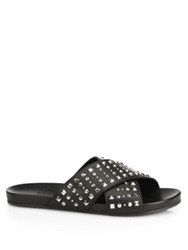 Gucci Hydra Criss Cross Studded Leather Sandals Black