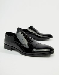 Red Tape Boston Lace Up Brogue Shoes In Black Patent