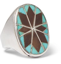 Foundwell Vintage 1970S Stering Silver Turquoise And Agate Ring Silver