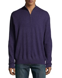 Neiman Marcus Zip Front Cashmere Pullover Sweater Purple