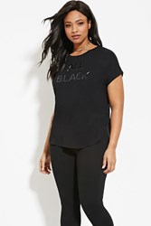 Forever 21 Plus Size All Black Graphic Tee Black Black