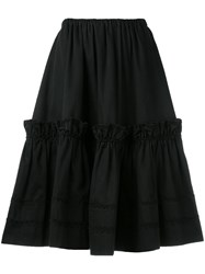 Yves Saint Laurent Vintage Rive Gauche Tiered Skirt Black