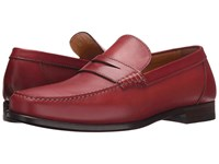 A. Testoni Plain Calf Penny Loafer Mocassin Pompei Men's Slip On Shoes Red