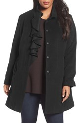 Tahari Plus Size Women's Kate Ruffle Wool Blend Coat