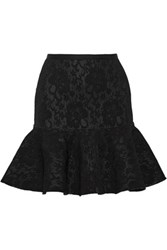 Lanvin Fluted Corded Lace And Mesh Mini Skirt Black