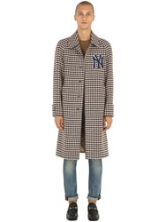 Gucci Wool Houndstooth Coat W Ny Detail Beige Brown