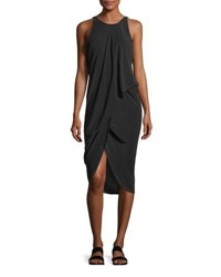 Urban Zen Sleeveless Draped Silk Dress Black