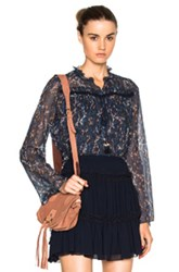 See By Chloe Sheer Blouse In Blue Floral
