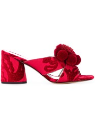 Marc Jacobs Aurora Pompom Mules Red