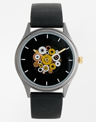 Asos Watch With Moving Cogs Black