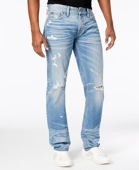 Guess Men's Slim Staight Jeans Archive Blue Wash W Destroy