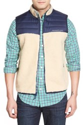 Vineyard Vines Colorblock Full Zip Fleece Vest Beige