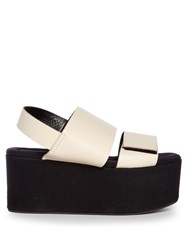 Marni Leather And Canvas Platform Sandals Cream