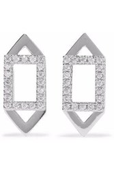 Astrid And Miyu Fitzgerald Rhodium Plated Crystal Earrings Silver