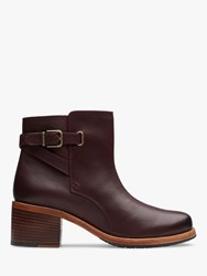 Clarks Clarkdale Jax Leather Ankle Boots Burgundy