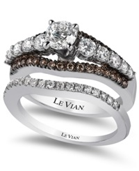 Le Vian Bridal Chocolate Diamond And White Certified Diamond Engagement Set In 14K White Gold 1 5 8 Ct. T.W.