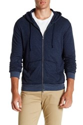 Save Khaki Striped Pointelle Zip Hoodie Blue