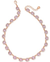 Charter Club Rose Gold Tone Pave And Pink Stone Collar Necklace Created For Macy's
