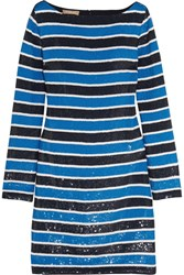 Michael Kors Collection Striped Sequined Silk Mini Dress Blue