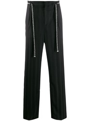 Saint Laurent Belted Straight Trousers Black