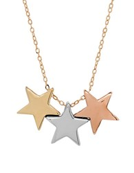 Lord And Taylor 14K Gold Triple Star Pendant Necklace Yellow Gold