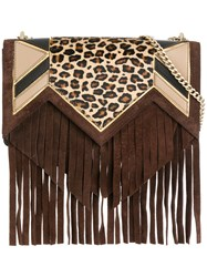 Just Cavalli Fringed Crossbody Bag Brown