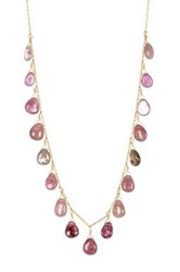 Candela 18K Gold Plated Sterling Silver Multi Shade Ruby Briolette Necklace