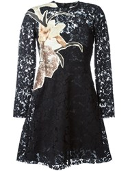 Valentino 'Kimono Flowers' Lace Dress Black