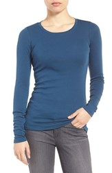 Caslonr Women's Caslon Long Sleeve Scoop Neck Cotton Tee Blue Wing
