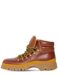 Prada 40Mm Brixen Leather Hiking Boots Tan