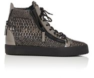 Giuseppe Zanotti Double Zip High Top Sneakers Silver