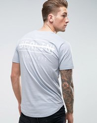 Only And Sons Longline T Shirt With Curved Hem Print Blue