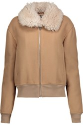 J.W.Anderson Shearling Trimmed Embroidered Wool Blend Bomber Jacket Camel