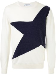 Education From Youngmachines Star Embroidered Sweater Acrylic Nylon Wool White