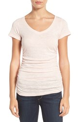 Caslonr Women's Caslon Shirred V Neck Tee Pink Peach