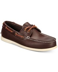 Tommy Hilfiger Perforated Bowman Boat Shoes Shoes Dark Brown
