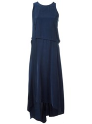 Cedric Charlier Gathered Front Shift Dress Blue