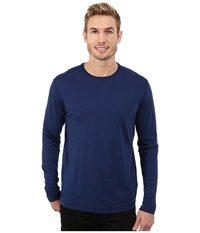 Agave Denim Long Sleeve Crew Supma Modal Blend Medieval Blue Men's Long Sleeve Pullover Navy