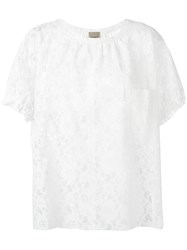 Nude Lace Detail Blouse White
