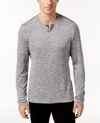 Alfani Men's Stretch Heathered Long Sleeve Henley Only At Macy's Smooth Silver