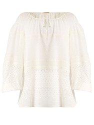 Saint Laurent Broderie Anglaise Silk Blend Georgette Blouse Cream