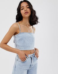Cheap Monday Recycled Denim Crop Top Blue