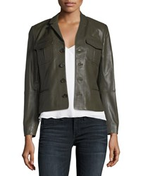 Zadig And Voltaire Liam Patina Button Front Lamb Leather Jacket Dark Green