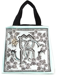 Roberto Cavalli Printed Canvas Tote Blue
