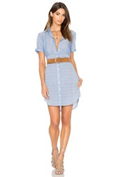 Frame Denim Le Short Sleeve Shirt Dress Blue