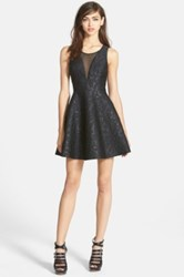 Astr Jacquard Fit And Flare Dress Juniors Black