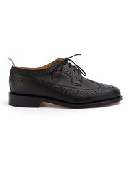 Thom Browne Classic Longwing Brogue Flat In Black Pebble Grain