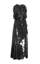 Rochas Belted Sequin Dress Black