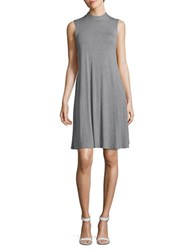 Lord And Taylor Mock Neck Swing Dress Silver