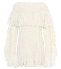 Philosophy Di Lorenzo Serafini Fringe Cable Knit Sweater Neutrals